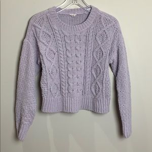 Garage cropped lilac cable knit sweater